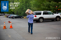 Islamic Relief USA's Ramadan food box distribution at ADAMS Center in Virginia.