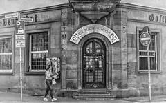 (Paul B0udreau) Tags: street bw building girl bar germany person pub kaiserslautern benderhof