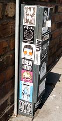 Liverpool Stickers (cocabeenslinky) Tags: city uk pink england urban streetart art june liverpool lumix graffiti photo artist photos stickers culture drew panasonic otr graff artiste merseyside 2016 dmcg6 cocabeenslinky