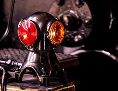Antique Signal Lantern (The Flying Inn) Tags: railroad light red black yellow metal iron pennsylvania engine pa transportation strasburg lantern lancastercounty railroadmuseumofpennsylvania