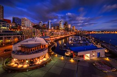 "Seattle Waterfront at ""Blue Hour"" (Fresnatic) Tags: seattle marina belltown pacificnorthwest hdr elliotbay pier66 seattlewaterfront anthonysrestaurant wasingtonstate canonrebelxsi seattlehdr fresnatic photoshopcs5 seattlebluehour"