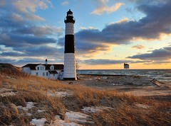 """A Guiding Light""   Big Sable Point Lighthouse - Ludington, Michigan (Michigan Nut) Tags: sunset sky usa lighthouse beach nature clouds america geotagged sand michigan landmark lakemichigan ludington ludingtonstatepark johnmccormick bigsablepointlighthouse"