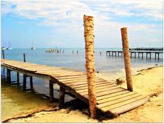 Interesting use of palm tree trunks (CameliaTWU) Tags: boats dock sand belize cayecaulker waterreflection caribbeansea palmtreetrunks
