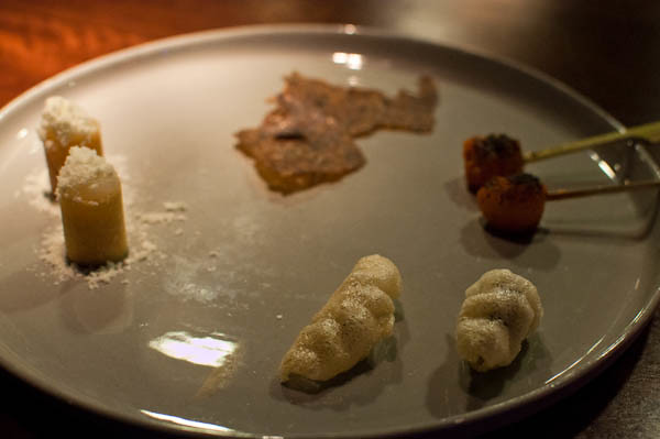 shitake chips, mori, mochi and smoked potato
