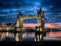 WInter sunrise on Tower Bridge, London (Beboy_photographies) Tags: bridge blue sunset london tower sunrise hour londres pont crpuscule hdr matin