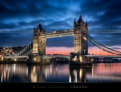 WInter sunrise on Tower Bridge, London (Beboy_photographies) Tags: bridge blue sunset london tower sunrise hour londres pont crépuscule hdr matin