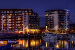 The restaurants at Ocean Village Marina, Southampton (P Sterling Images) Tags: ocean city sea museum night marina dark twilight long exposure village darkness dusk anniversary sony 4 sigma banana terminal lettuce wharf years 100 slug southampton titanic tone hdr slt 2012 mapped lightroom a35 18200mm photomatix