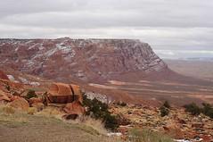 Somewhere, Arizona (smiling_da_vinci) Tags: arizona snow clouds landscape rocks desert hills shrubs impressive mesas vaste