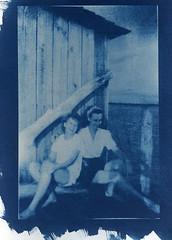 Ruby & unknown friend, Jug Island, Florida circa 1944 (perrygrl) Tags: cyanotype digitalnegative altprocess copynegative photographersformularyaboriginalformula