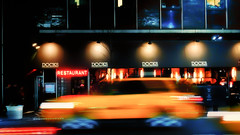 Friday night in Midtown Manhattan (Dennis Herzog) Tags: nyc newyorkcity urban ny newyork motion blur docks restaurant lowlight cityscape manhattan taxi streetscene taxis midtown midtownmanhattan newyorknightlife newyorkrestaurants nynightlife mygearandme blinkagain