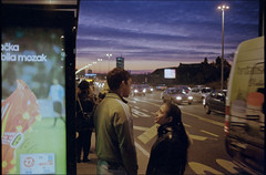 . (OverdeaR [donkey's talking monkey's nodding]) Tags: street bridge sunset people urban bus film station 35mm 1 minolta dusk young streetphotography scan mc negative 400 scanned push belgrade f18 expired dm xd11 beograd gsp xd theeveryday argue srbija paradies c41 push1 rokkor brankov 3518 800ei brankos rokkorhh motst