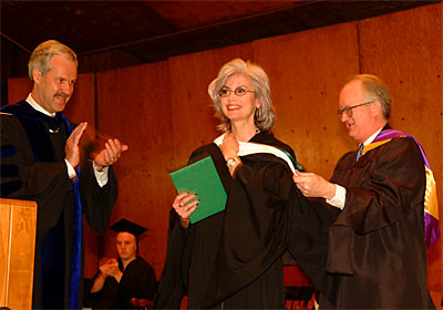 Grammy Award-winning Country Singer Emmylou Harris Receives an Honorary Degree from President Paul LeBlanc and Chairman of the Board of Trustees Ted Wendell