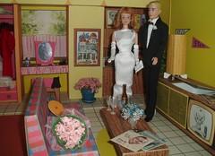 Midge and Kenneth in Barbie's Dream House (Flava Sweet) Tags: vintage dolls ken barbie tuxedo diorama midge pillowtalk barbiedreamhouse flavasweet