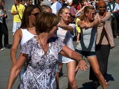 Street Dance (Waterford_Man) Tags: girls summer london girl streetperformers candid trafalgarsquare tourist teen shorts paths daisydukes streetartists