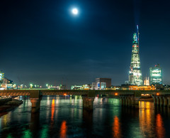 The Shard From Southwark Bridge (Sean Batten) Tags: uk england moon reflection london thames architecture night lights unitedkingdom southwark southwarkbridge shardofglass theshard cannonstbridge