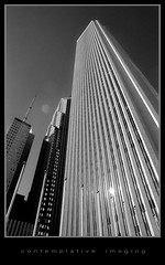 aon (contemplative imaging) Tags: street camera city urban blackandwhite bw usa white chicago black building slr tower film monochrome up skyline architecture america 35mm buildings lens photography photo office illinois midwest downtown day glare looking minolta image loop photos kodak gray structures saturday sunny monotone images structure architectural il ill american fim highrise flare imaging t