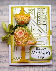 Mother's Day Card (Sherry .) Tags: ribbon sewingroom yellowandgreen springcolors springcolours timholtz distressinks seambinding wiredribbon sizzixalterationsdie patternsandstitches texturefadeembossingfolder sewingthemedcard