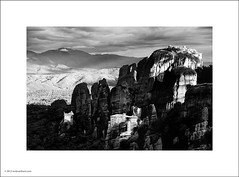 Meteora Monasteries (Ian Bramham) Tags: bw white black mountains landscape photo greece meteora monasteries ianbramham