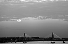 Monochrome moon... (Pablin79) Tags: light sunset sky cloud moon white black water argentina monochrome clouds digital canon river eos reflex 5d pipa misiones posadas markii 70200mm rov 2011 canonef70200mmf4lisusm canoneos5dmarkii 5dmkii pabloreinsch pabloreinschphotography pablin79
