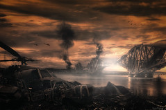 Doomsday 2012 (Noro8) Tags: bridge light sky cars colors photoshop dark landscape war smoke apocalypse atmosphere helicopter disaster processing brushes wrecks dayafter postapocalypse noro8