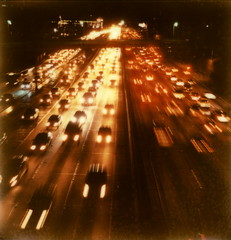 Cool 11PM Traffic Jam (tobysx70) Tags: california ca street door bridge light toby test color slr film night project polaroid sx70 la harbor los cool downtown boulevard nocturnal traffic state time angeles tail 110 trails saturday overpass route tip shade freeway headlight interstate rollers moment hancock jam 7th pioneer sr slr680 blvd wilshire congestion 680 impossible the px i110 colorshade frankenroid 042812 theimpossibleproject impossiblemomentintime px680 tobyhancock impossaroid april282012