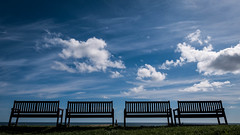 Benches & Blue Sky (Demonsub) Tags: blue sky lumix coast view seats benches tynemouth gx7