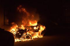 Ghost Rider () Tags: street houses car bike night fire melting smoke flames automotive motorbike motorcycle vehicle emergency