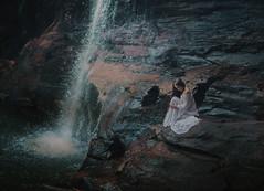 The alliance (Deltalex.) Tags: blue red portrait woman lake water girl photography waterfall model rocks dress fineart sydney australia dancer bluemountains hike newsouthwales conceptual fineartphotography whitedress conceptualphotography nikond600 alexbenetel beckychatfield
