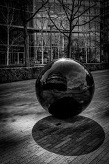 Spherical reflection (James Waghorn) Tags: city england urban blackandwhite sculpture london ball spring nikon shadows cityhall sphere round spherical lr6 d7100 silverefexpro2 sigma1750f28exdcoshsm