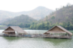 Blurred Raft floating in a water storage dam. (leykladay) Tags: travel mountain tourism water comfortable forest relax thailand natural straw bamboo raft float