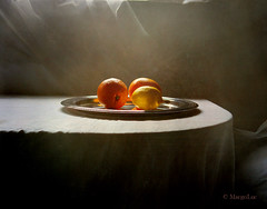 Still Life with Fruit (MargoLuc) Tags: light stilllife white classic texture window fruit backlight table lemon natural silverware oranges tablecloth agrumi skeletalmess