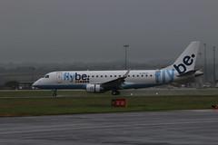 G-FBJC wet landing. (aitch tee) Tags: wet weather aircraft spray landing airliner embraer walesuk cardiffairport e170 gfbjc maesawyrcaerdydd cwlegff