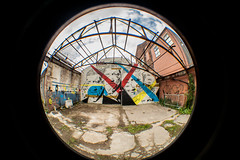 faces in the broken frame (PDKImages) Tags: flowers urban art beauty manchester graffiti colours curves perspective murals fisheye hidden round daisy walls artinthecity bends