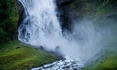 Waterfall (ekveronica) Tags: travel summer green wet water field norway river landscape waterfall roadtrip hills valley foss powerful noisy vann