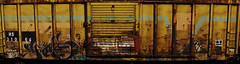 2003 rusty yellow goodness. (QsySue) Tags: railroad panorama train graffiti tag traintracks traincar photomerge dslr stitched railroadtracks railroadcar inlandempire sanbernardinocounty stitchedpanorama nikond200 albinarmacrozoomlens albinar80200mm139 justhadthislenssittingaround