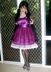Purple Satin Dress (Christine Fantasy) Tags: dress chiffon makeup christine gloves sissy transvestite satin crossdresser petticoat