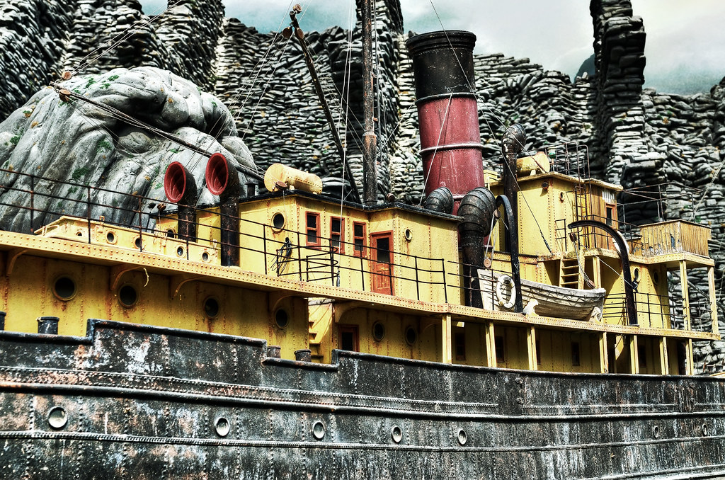 Miniature boat and Skull island in Universal Studio