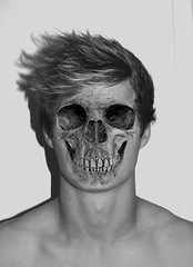 Human Skull 5 (Kingston.) Tags: people white black death skull transformation decay sequence