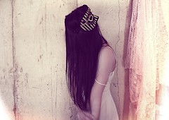 From the sheath (Bella Harris) Tags: girl fashion hair mask lace noface vintagedress