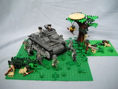 D-Day Plus One (Cool Whip) Tags: world 2 field cool war tank lego wwii whip ww2 americans soldiers convoy dday axis airborn paratroopers parachute allies germans brickarms
