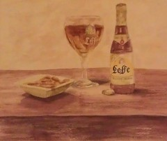 Leffe Blonde (Patsy L Smiles) Tags: beer bar painting leffe watercolour belgiumbeer leffeblonde patsysmiles flickrandroidapp:filter=none