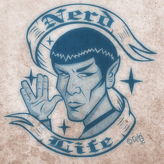 original gangsta (robolove3000) Tags: startrek nerd photoshop geek spock scifi ribbon vulcan dork vector coreldraw nimoy tos livelongandprosper tattooflash nerdlife vulcansalute ducksoupsigns