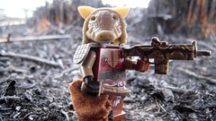 Apocalyptic Savage (The Brick Guy) Tags: outside lego rags camo horror custom burned snakeskin savage minifigure pighead hac brickarms combatknife apocalego amazingarmory