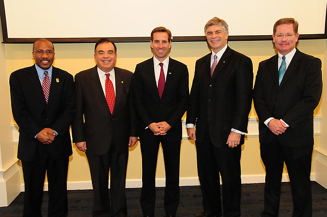 (Left to Right): Delaware State University President Harry L. Williams, Delaware Technical and Community College President Dr. Orlando J. George, Jr., Attorney General Beau Biden, University of Delaware President Patrick T. Harker, and Wilmington University Vice President for Academic Affairs Dr. Jim Wilson.