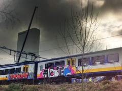Gevandaliseerde trein (010fuss) Tags: dutch train graffiti rotterdam doug koala cs smurf hdr nn arie