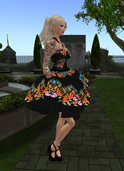 2.24. Serenity goes shopping_003 (Q aka dymoon (Qyhat Harbor)) Tags: fashion hair eyes shoes makeup style sl floraldress designerclothes