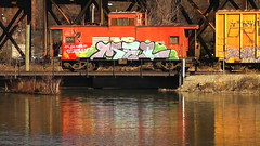 MEL (BLACK VOMIT) Tags: reflection water train graffiti virginia canal funky richmond caboose mel reflected va dlr freight