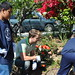 Lance Bass and students planting