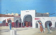 Douz central market (tadeusz dergowski) Tags: urban art painting sketch desert northafrica tunisia tunis arabia expressionism impressionism islamic oilpaint douz sfax pleinair tozeur matmata pochade
