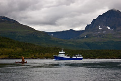 Old and new (Dr.E) Tags: new old mountain norway vintage boat ship fjord viking
